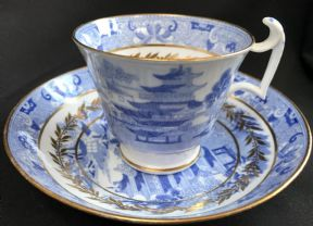 Spode LONDON shaped coffee cup & saucer -Willow